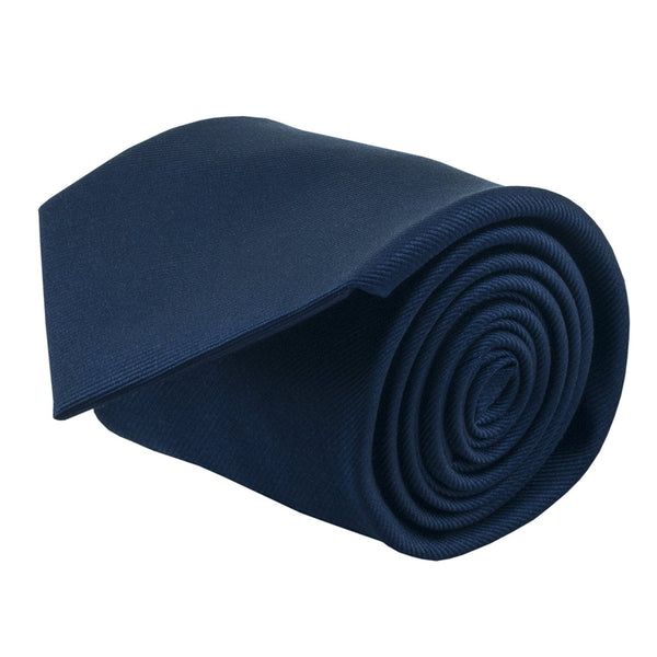 100% Silk Handmade Navy Blue Solid Color Tie Men's Necktie - Galleria Brands