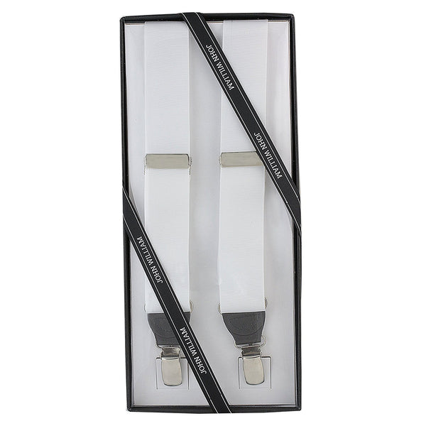 Men's Premium Y-Back Formal Dress Tuxedo Suspenders Gift Boxed by John William (White) - Galleria Brands