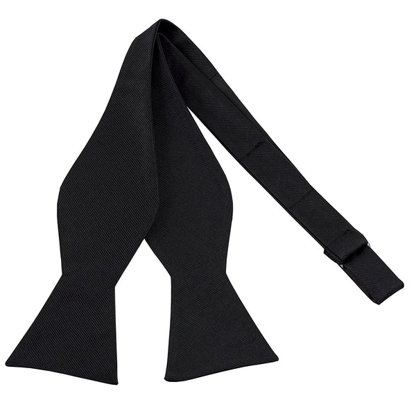 100% Silk Mens Bowtie Black Self Tie Tuxedo Bow Tie - Galleria Brands