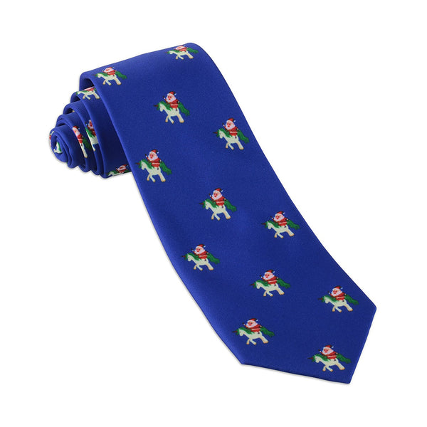John William Christmas Necktie: Funny Ugly Holiday Tie For Men | Santa Claus Riding Unicorn Necktie - Blue - Galleria Brands