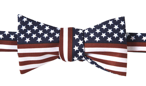 John William American Flag USA Patriotic Striped Self Tie Bow Tie - Galleria Brands