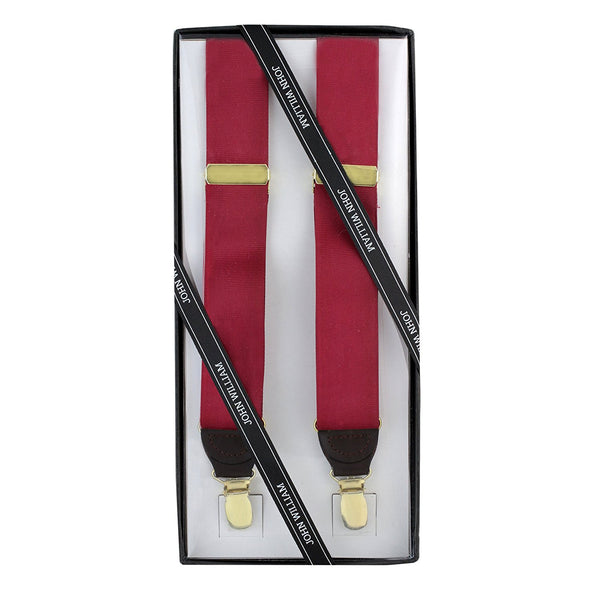 Men's Premium Y-Back Formal Dress Tuxedo Suspenders Gift Boxed by John William (Burgundy) - Galleria Brands