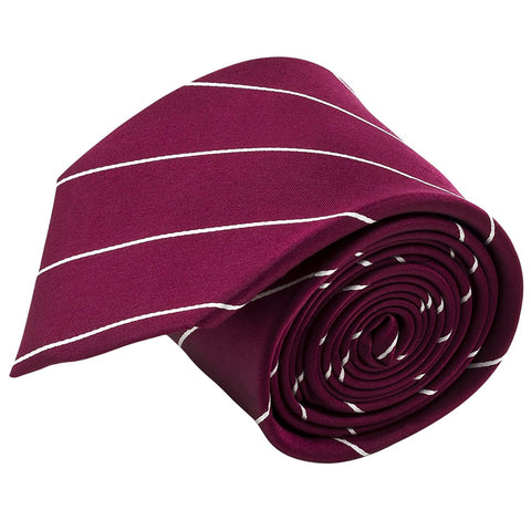 100% Silk Handmade Burgundy Red & White Pencil Striped Tie Men's Necktie - Galleria Brands