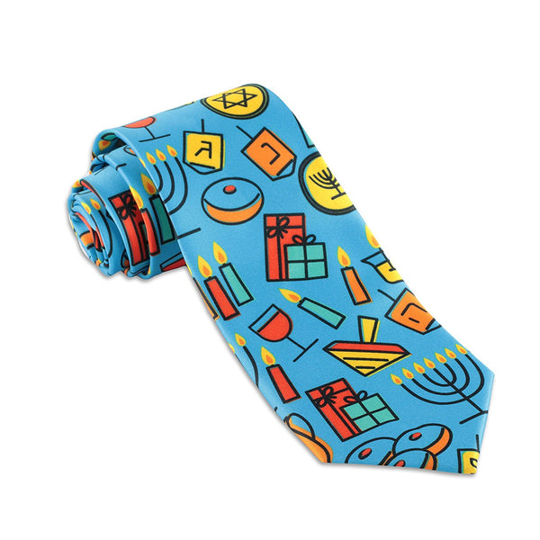 John William Mens Hanukkah Necktie Jewish Chanukah Holiday Ties For Men - Galleria Brands