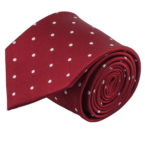 100% Silk Handmade Red & White Polka Dot Repp Tie Men's Necktie - Galleria Brands