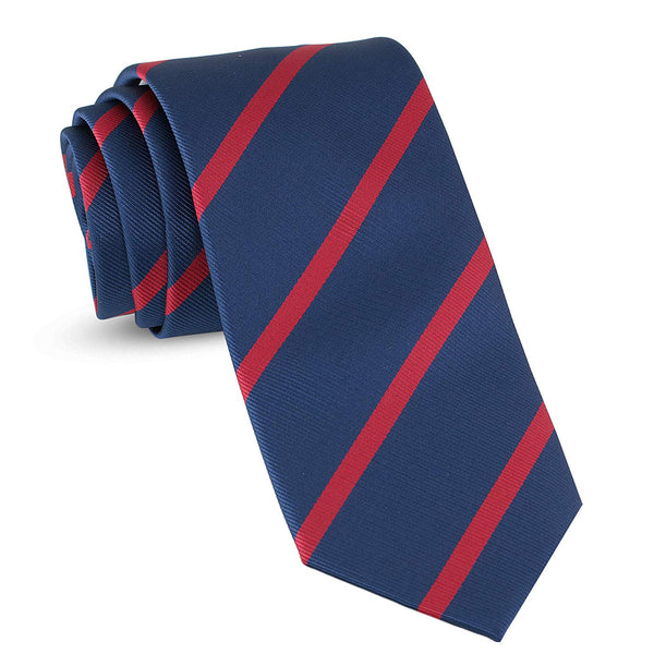 Handmade Striped Ties For Men Skinny Woven Slim Navy Blue & Red Mens Stripes Tie: Thin Necktie, Stylish Neckties For Every Outfit - Galleria Brands