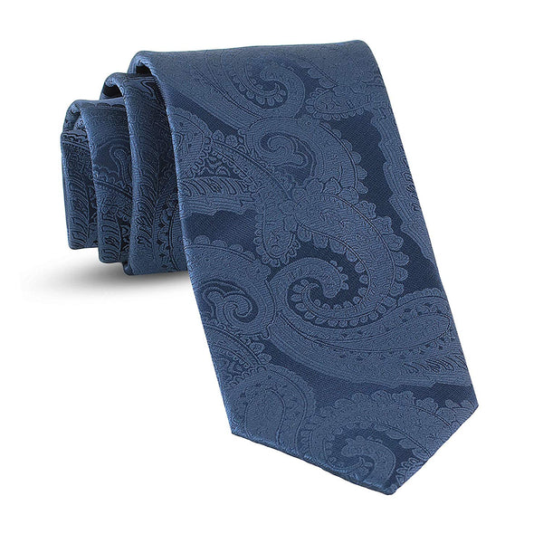 Handmade Paisley Ties For Men Skinny Woven Slim Navy Blue Mens Tie: Thin Necktie, Stylish Neckties For Every Outfit - Galleria Brands