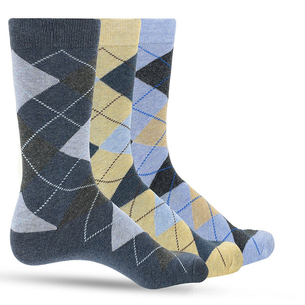 3 Pack of Premium Cotton Argyle Mens Blue Dress Socks For Men – Colorful Fashion - Tan Denim - Galleria Brands