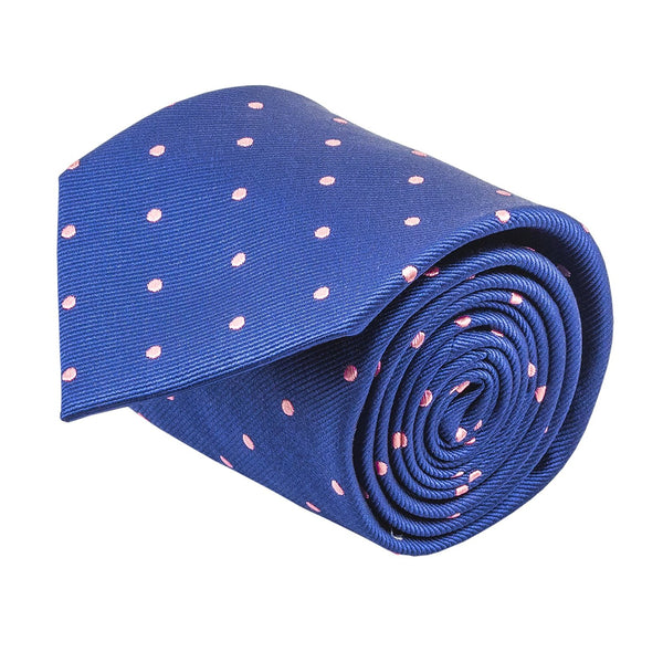 100% Silk Handmade Navy Blue & Pink Polka Dot Repp Tie Men's Necktie - Galleria Brands