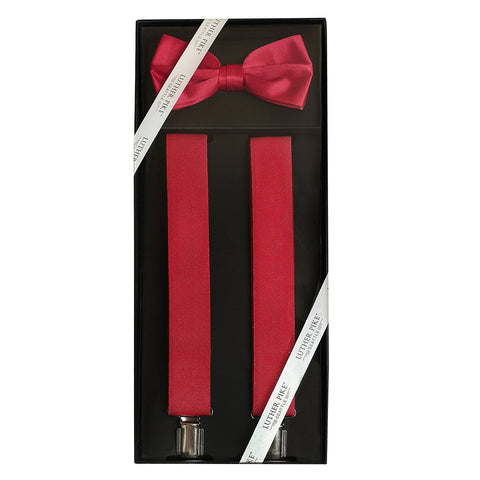 Luther Pike Mens Tuxedo Bow Tie & Suspenders Gift Box (Burgundy) - Galleria Brands