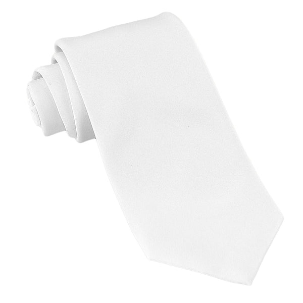 Luther Pike Satin Necktie Tuxedo Dress Tie (White) - Galleria Brands