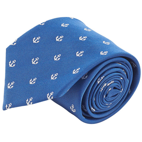 100% Silk Nautical Anchor Navy Blue & White Tie Men's Necktie - Galleria Brands