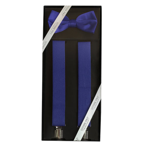 Luther Pike Mens Tuxedo Bow Tie & Suspenders Gift Box (Navy Blue) - Galleria Brands
