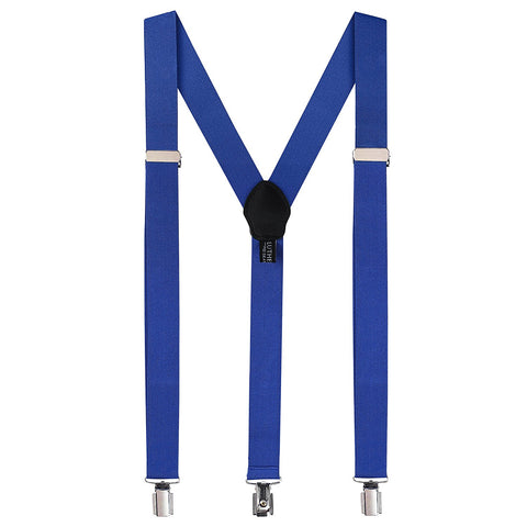 Tuxedo Suspenders for Men: Clip Style Braces - Y Back Design - (Royal Blue) - Galleria Brands