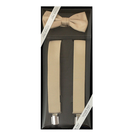 Luther Pike Mens Tuxedo Bow Tie & Suspenders Gift Box (Khaki Tan) - Galleria Brands