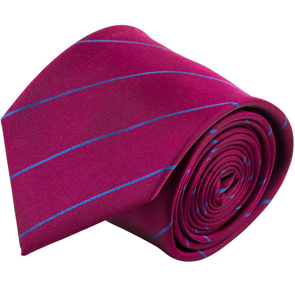 100% Silk Handmade Burgundy Red & Blue Pencil Striped Tie Men's Necktie - Galleria Brands