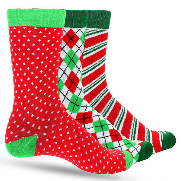 3 Pack Argyle, Striped, Dots Men's Christmas Dress Colorful Socks for Men - Multiple Holiday Colors - Galleria Brands