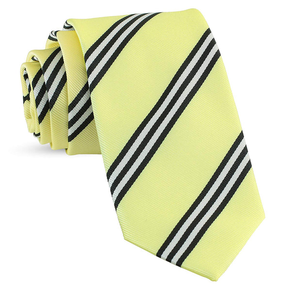 Handmade Striped Ties For Men Skinny Woven Slim Yellow Mens Stripes Tie: Thin Necktie, Stylish Neckties For Every Outfit - Galleria Brands