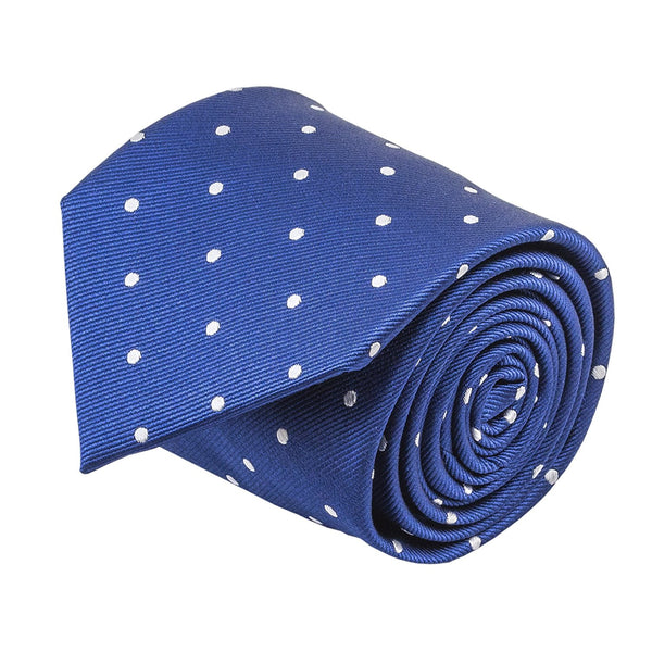 100% Silk Handmade Navy Blue & White Polka Dot Repp Tie Men's Necktie - Galleria Brands