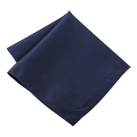 100% Silk Woven Navy Blue Pocket Square Handkerchief - Galleria Brands