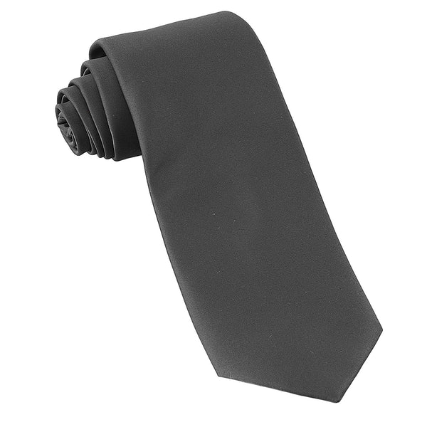 Luther Pike Mens Satin Wedding & Tuxedo Necktie Tie (Charcoal Grey) - Galleria Brands