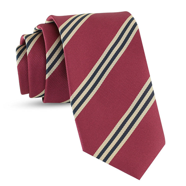 Handmade Striped Ties For Men Skinny Woven Slim Burgundy Mens Stripes Tie: Thin Necktie, Stylish Neckties For Every Outfit - Galleria Brands