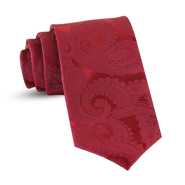 Handmade Paisley Ties For Men Skinny Woven Slim Burgundy Red Mens Tie: Thin Necktie, Stylish Neckties For Every Outfit - Galleria Brands