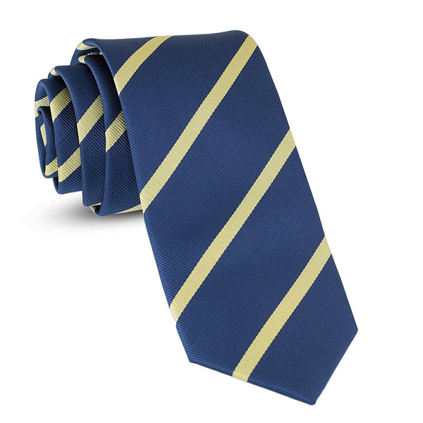 Handmade Striped Ties For Men Skinny Woven Slim Rep Navy Blue & Yellow Mens Stripes Tie: Thin Necktie, Stylish Neckties For Every Outfit - Galleria Brands
