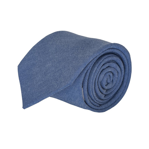 Luther Pike Mens Cotton Chambray Skinny Tie Necktie - 2.75 inches Warm Blue - Galleria Brands