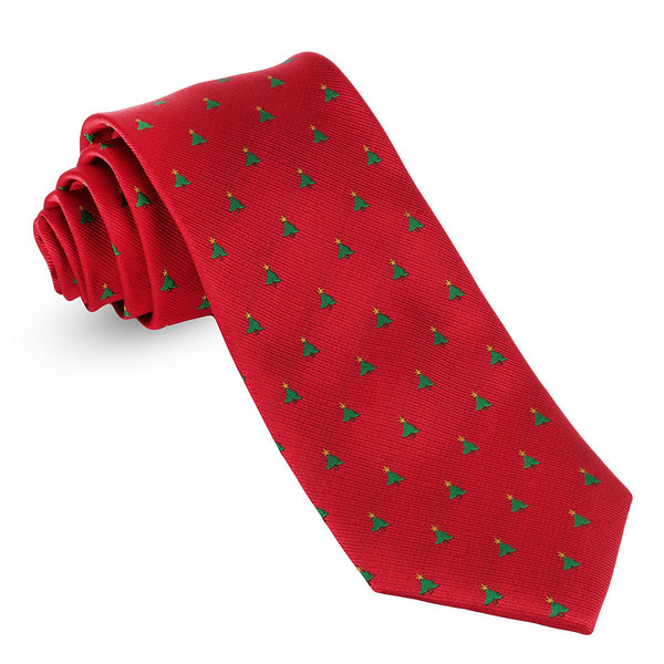 John William Mens Woven Christmas Ties For Men Tree & Star Necktie Red Holiday Twill Tie - Galleria Brands