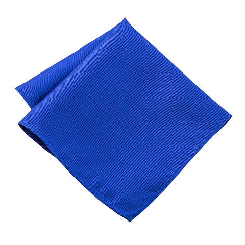 100% Silk Woven Royal Blue Pocket Square Handkerchief - Galleria Brands