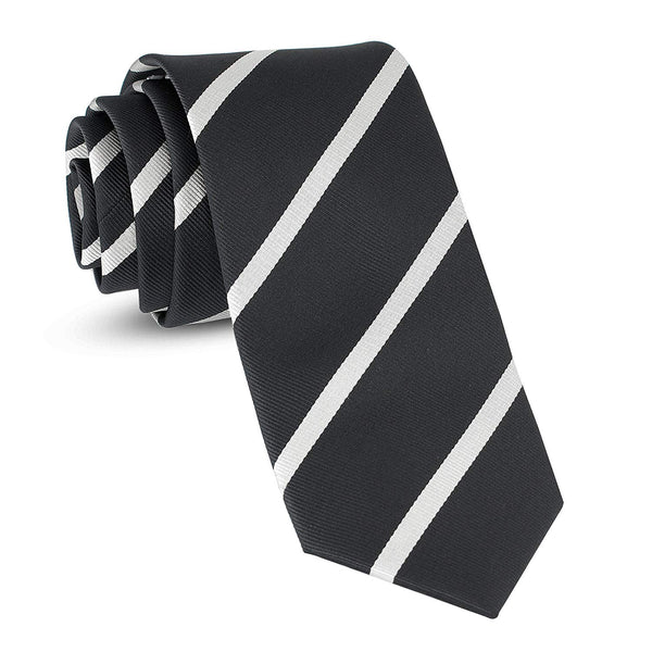 Handmade Striped Ties For Men Skinny Woven Slim Rep Black & White Mens Stripes Tie: Thin Necktie, Stylish Neckties For Every Outfit - Galleria Brands
