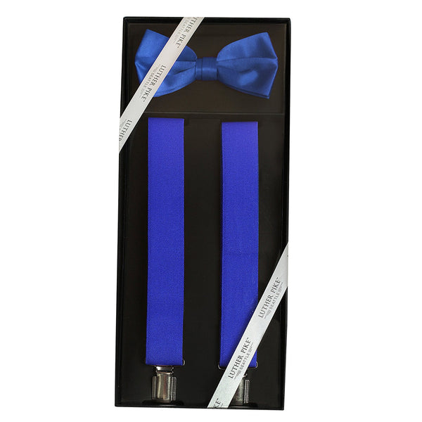 Luther Pike Mens Tuxedo Bow Tie & Suspenders Gift Box (Royal Blue) - Galleria Brands
