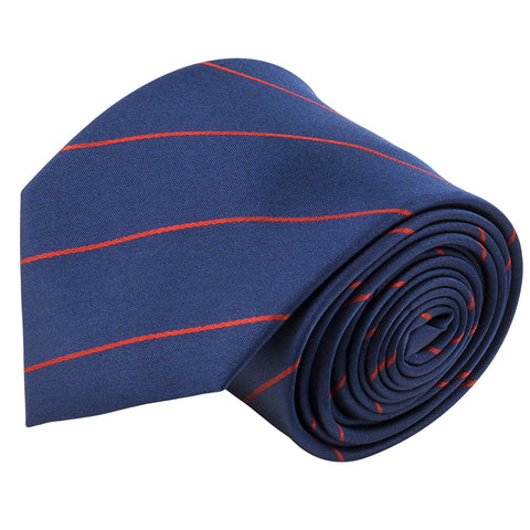 100% Silk Handmade Navy Blue & Red Pencil Striped Tie Men's Necktie - Galleria Brands