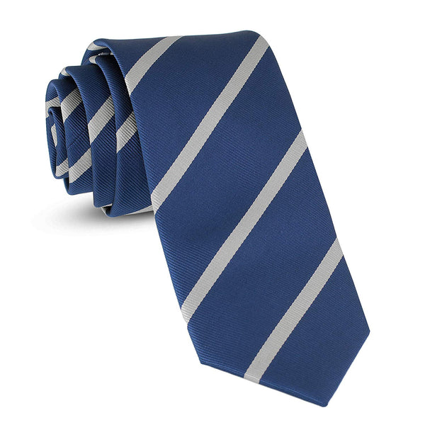 Handmade Striped Ties For Men Skinny Woven Slim Rep Navy Blue & White Mens Stripes Tie: Thin Necktie, Stylish Neckties For Every Outfit - Galleria Brands
