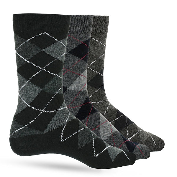 3 Pack of Premium Cotton Argyle Mens Black Dress Socks For Men – Colorful Fashion - Gray Grey - Galleria Brands