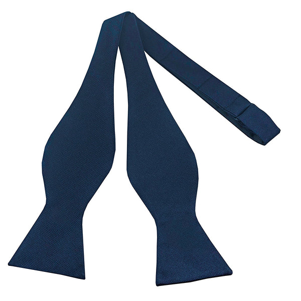100% Silk Navy Blue Self Tie Bow Tie - Galleria Brands