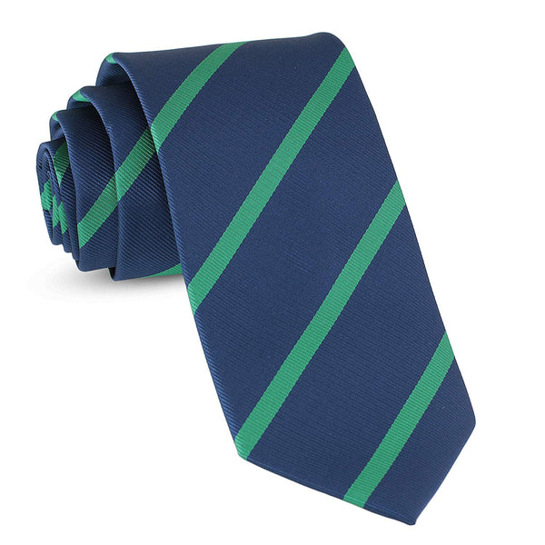 Handmade Striped Ties For Men Skinny Woven Slim Rep Navy Blue & Green Mens Stripes Tie: Thin Necktie, Stylish Neckties For Every Outfit - Galleria Brands