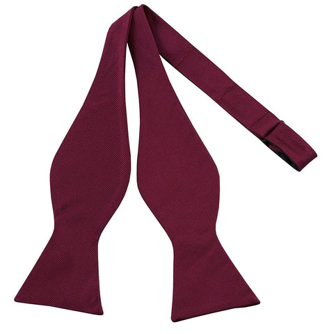 100% Silk Burgundy Self Tie Bow Tie - Galleria Brands