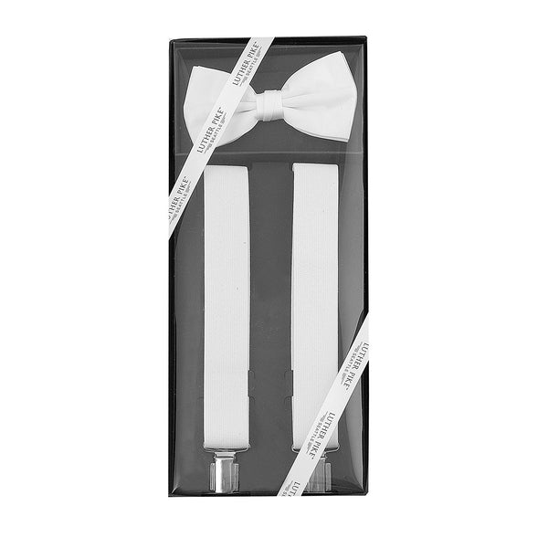 Luther Pike Mens Tuxedo Bow Tie & Suspenders Gift Box (White) - Galleria Brands