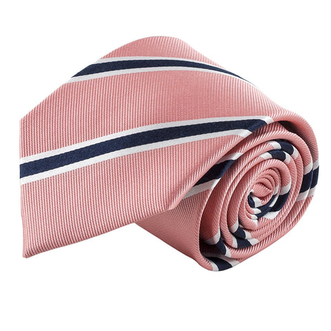 100% Silk Handmade Pink & Navy Blue Striped Tie Men's Necktie - Galleria Brands