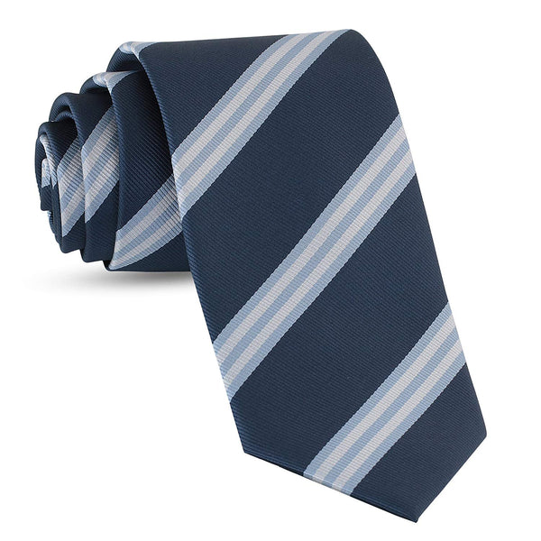 Handmade Striped Ties For Men Skinny Woven Slim Light Navy Blue Mens Stripes Tie: Thin Necktie, Stylish Neckties For Every Outfit - Galleria Brands