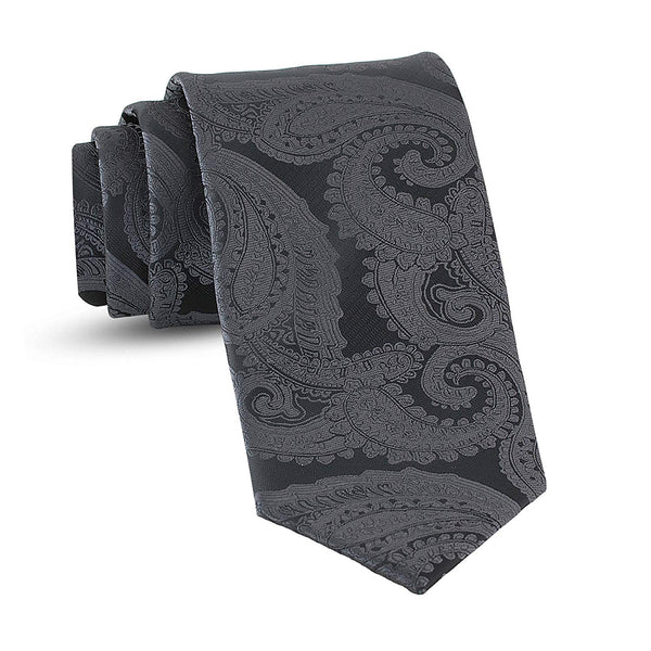 Handmade Paisley Ties For Men Skinny Woven Slim Charcoal Grey Mens Tie: Thin Necktie, Stylish Gray Neckties For Every Outfit - Galleria Brands