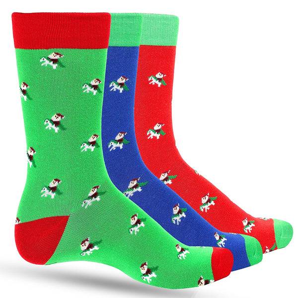 3 Pack FUN Men's Christmas Dress Colorful Socks for Men Featuring Santa Riding Unicorn in Multiple Holiday Colors - Galleria Brands
