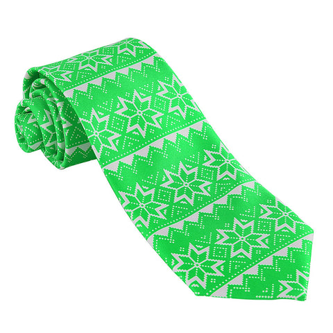 John William Mens Christmas Necktie Ugly Sweater Tie (Green) - Galleria Brands