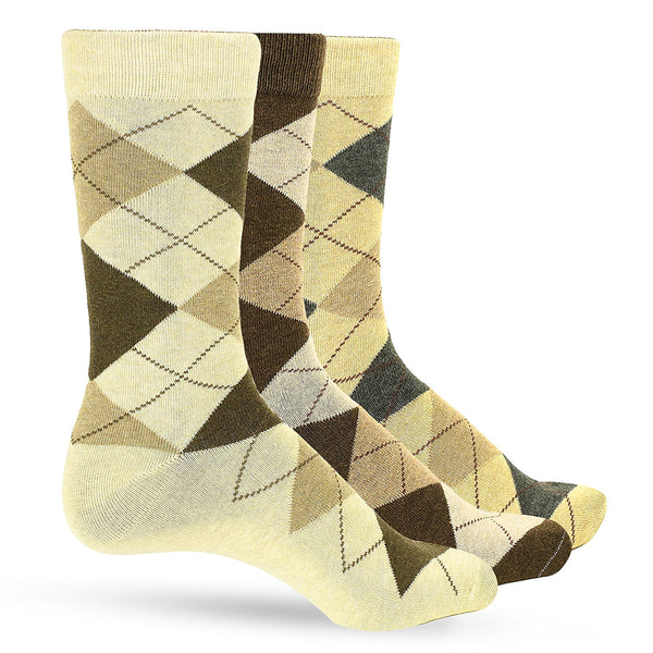 3 Pack of Premium Cotton Argyle Mens Dress Socks For Men – Colorful Fashion - Taupe Brown - Galleria Brands