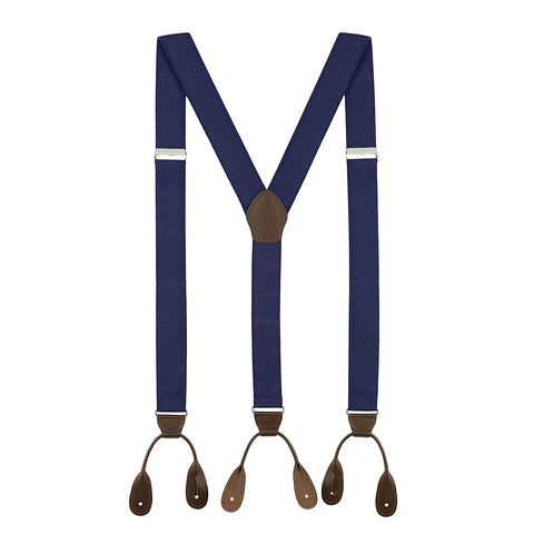 Tuxedo Suspenders for Men: Button Pant Braces - Y Back Design - (Navy Blue) - Galleria Brands