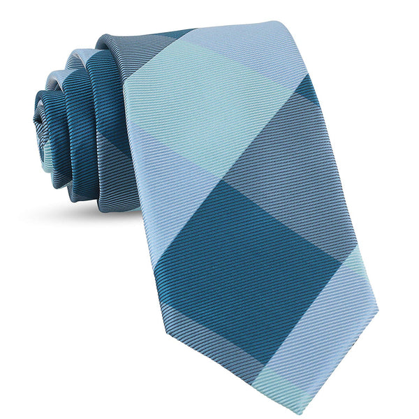 Handmade Plaid Ties For Men Skinny Woven Lake Blue Slim Gingham Mens Ties: Thin Tie & Necktie, Stylish Neckties For Every Outfit - Galleria Brands