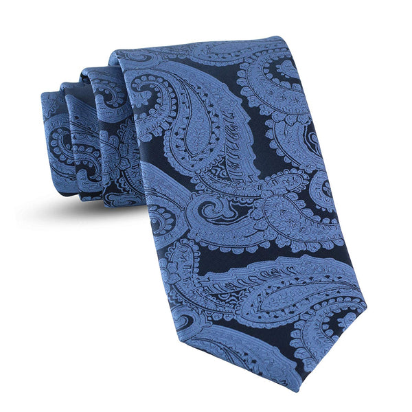 Handmade Paisley Ties For Men Skinny Woven Slim Steel Blue Mens Tie: Thin Necktie, Stylish Neckties For Every Outfit - Galleria Brands