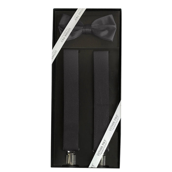 Luther Pike Mens Tuxedo Bow Tie & Suspenders Gift Box (Black) - Galleria Brands